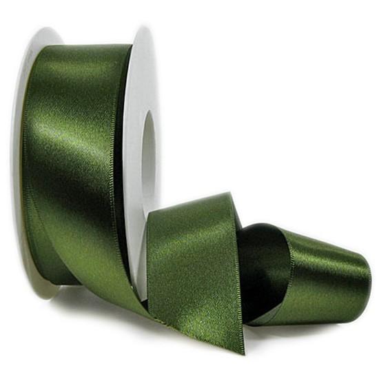 Satinband SINFINITY, moosgrün: 38mm breit / 25m-Rolle, mit feiner Webkante.