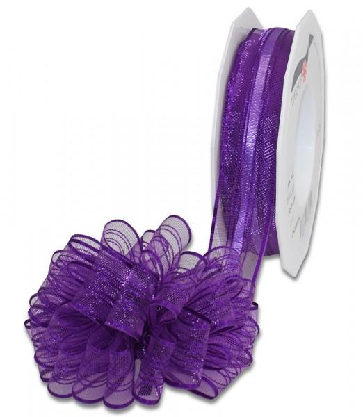 Ziehschleifenband VENEDIG: 25mm breit / 25m-Rolle, violett.