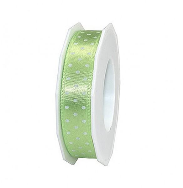 Pünktchenband, hellgrün: 25mm breit / 20m-Rolle