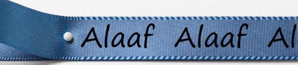 Karnevals-Satinband Alaaf: 15mm breit / 25m-Rolle: blau mit schwarzer Schrift
