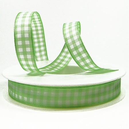Karoband, grün-weiß-kariert: 15mm breit / 25m-Rolle