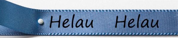 Karnevals-Satinband Helau: 15mm breit / 25m-Rolle: blau mit schwarzer Schrift