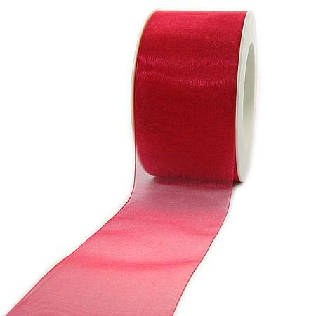 Organzaband mit Drahtkante: 60mm breit / 25m-Rolle, rot