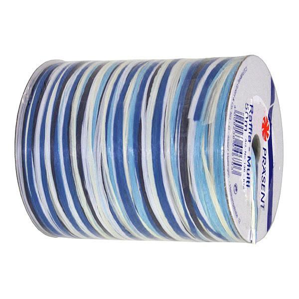 Raffia-MULTI-Bindebast: 5mm breit / 50m-Rolle, hellblau-dunkelblau-weiß