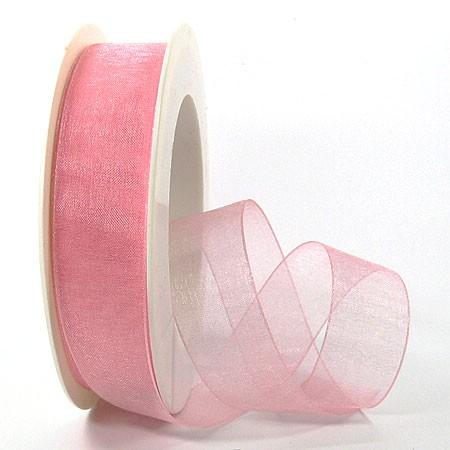 Organzaband mit Drahtkante, 25mm breit / 25m-Rolle, rosa