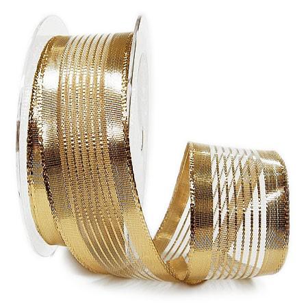 Goldband-SCARLET, 38mm breit / 25m-Rolle, mit Drahtkante
