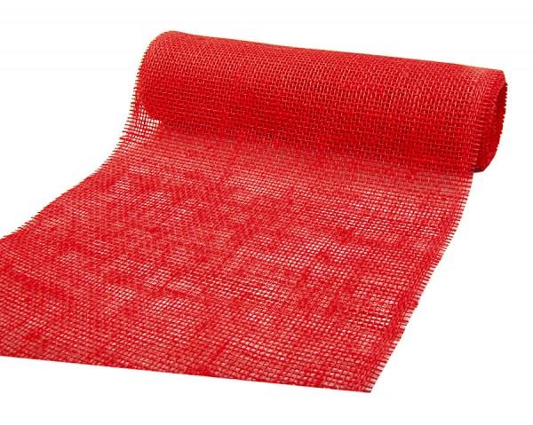 DEKOR-Jute - Tischläufer: 300mm breit / 10m-Rolle, rot.