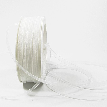 Organzaband: 5mm breit / 50m-Rolle, weiss