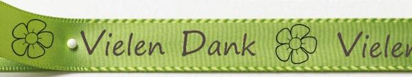 Satinband Vielen Dank, lindgrün: 15mm breit / 25m-Rolle