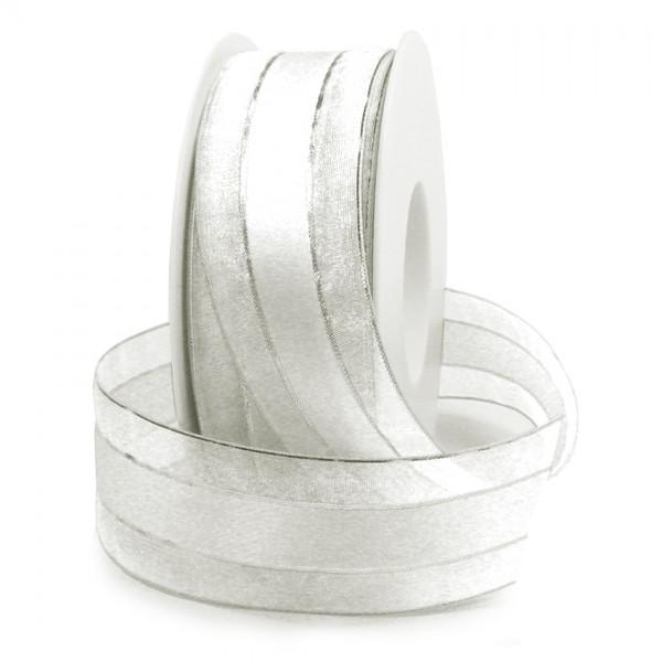 Dekorband-SHINY, weiß-silber: 38mm breit / 25m-Rolle