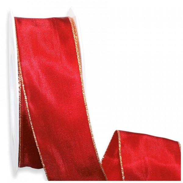 BASIC-Geschenkband: 40mm breit / 25m, rot-gold