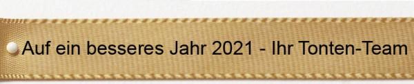 Ihr Text auf Satinband gold: 15mm breit / 25m-Rolle - Schriftart Classic/Schriftfarbe: schwarz