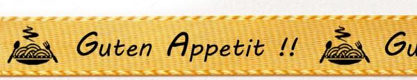 Satinband Guten Appetit: 15mm breit / 25m-Rolle: gelb