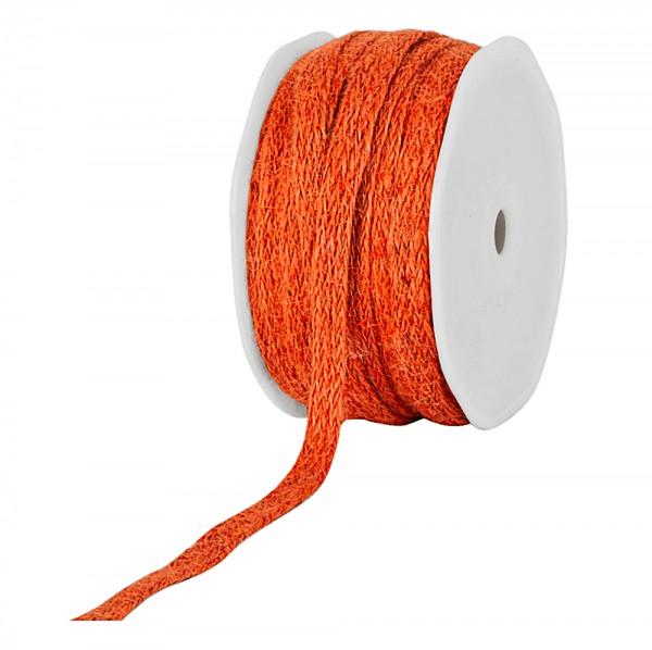 Jute-Flechtband, orange: 12mm breit / 20m-Rolle