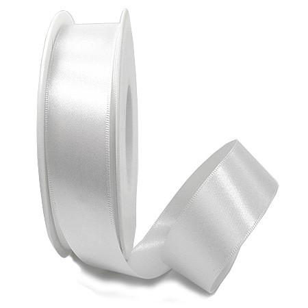 Satinband-SINFINITY, weiss: 25mm breit / 25m-Rolle, mit feiner Webkante