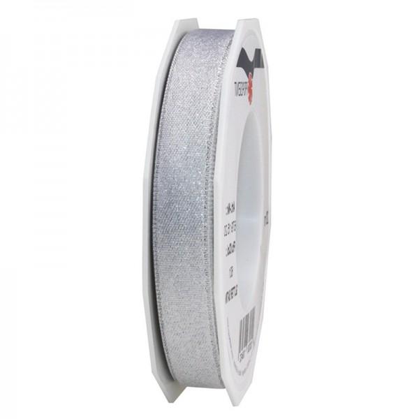 GLITTER-Satinband: 15mm breit / 20m-Rolle, weiss mit Silber-Glitzer